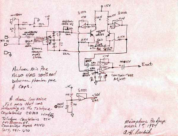 Benchmark Mic Preamp Schematics From 1984